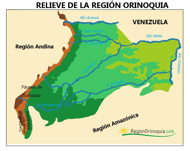 mapa del relieve de la region orinoquia