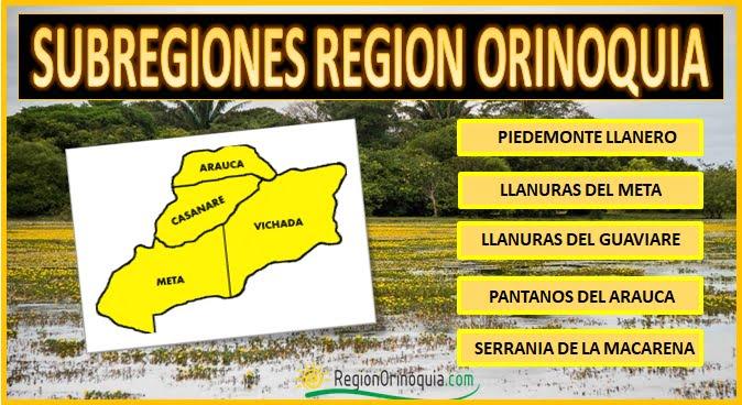 Subregiones de la region Orinoquia colombiana.